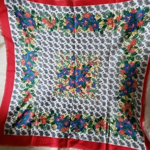 Accessories - Italian Polyester Shawl Paisley Print Flower Scarf